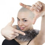 Bald woman posing