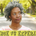 science vs experience Woman with gray natural hair